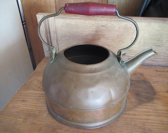 Vintage 1940s to 1950s Revere Ware Copper Teapot No Lid Reddish Wooden Handle Metal Not Shiny Home Decor Repurpose Dented Not Perfect
