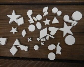 Vintage 1950s to 1960s Hernard White Ceramic Pressure Sensitive 3D Title Symbols Random 8/16 mm Film Repurpose/Reuse/Recycle