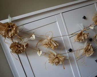 rustic flower garland paper flower garland rustic wedding decor flower backdrop party decorations bridal shower rustic country decor
