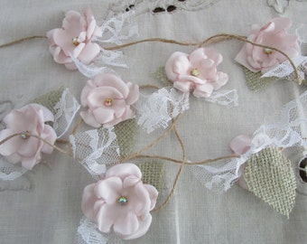 Fabric flower garland, Rustic Wedding garland, Backdrop decoration, Shabby chic flower decoration, Blush pink garland, Party decorations