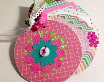 Flower scrapbook chipboard mini album- hostess gift thank you