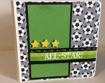 Soccer scrapbook chipboard premade pages mini album soccer player all stars