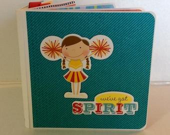 Cheerleading scrapbook chipboard premade pages cheer team  mini album brag book love to cheer