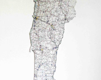VERMONT State Map Wall Decor   Vintage Map   Wall Decor   Wall Hangings   Perfect Gift for Any Occasion   Medium Size