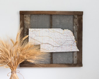 NEBRASKA State Map Wall Decor   Wall Decor   Nebraska   Vintage Map   Perfect Gift for Any Occasion   Gallery Wall   Small Size