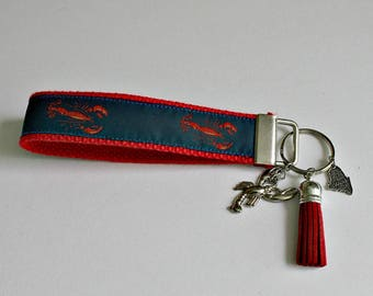 MAINE Keychain Wristlet   Key Fob Wristlet   Key Chain   Key Holder   Maine Lobster   Perfect Gift for Any Occassion