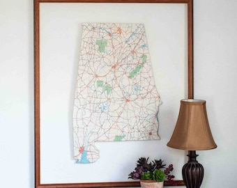 ALABAMA State Map Wall Decor   Vintage Map Decor   Perfect Gift for Any Occasion   Gallery Wall Decor   Medium size