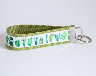 Cactus Keychain Wristlet   Key Chain   Key Holder   Cactus   Succulents   Key Fob Holder   Gifts for Women   Badge Holder