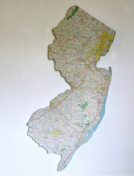 New Jersey State Map Wall Decor Vintage Maps Wall Decor Etsy