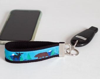 Keychain Wristlet with a Moose and Bear Design  Key Fob   Key Holder   Moose   Bear   Keys   Accessories   Key Chain