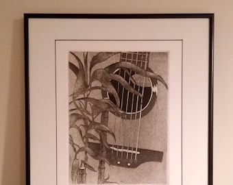 Natural Order - Etching Print with Guitar and Bamboo