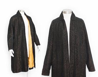 Vintage 50s Swing Coat - GOLD + Black Velvet Flocked Jacket 1950s - Small