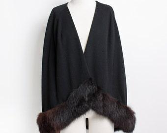 Vintage 60s CAPE - Black Wool + Fox Fur Jacket 50s - Small / Medium