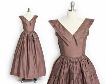 Vintage 40s Dress - Brown Taffeta Full Length Evening Gown 1950s - Small S