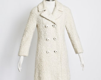 Vintage 1950s Coat - Ivory Boucle Wool Double Breasted Pea Coat 50s - Small