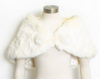 a673a4753 Vintage 50s Fur Stole White Rabbit Plush Fluffy Wrap 1950s Small XS