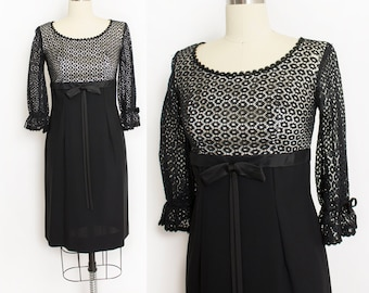 8c8a049c41a7 Vintage 1960s Dress Black Lace Empire Waist Cocktail 60s Small S