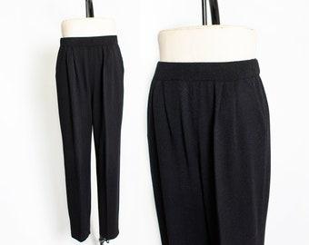 f307162c901 Vintage 1980s Pants - ST.John Black Wool Knit High Waisted 80s - Medium
