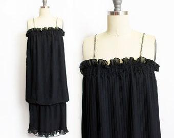 766c671a222 Vintage 1970s Dress Pat Richards Black Pleated Chiffon Drop Waist  Rhinestone Straps Small
