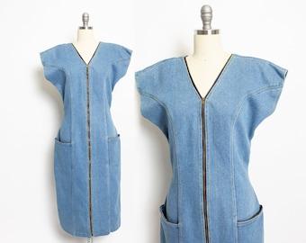 5471c312c50 Vintage 1980s DENIM Dress - Zipper Fitted 80s - Medium   Large