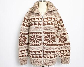 21b58edc937e5 Vintage 1960s Sweater Cowichan Snowflake Cardigan Grey Wool Knit Large L