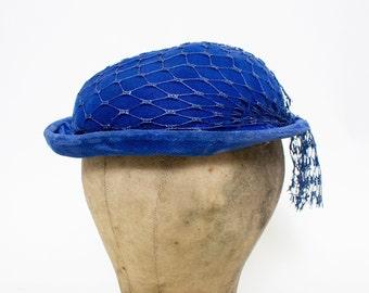 b168308088b61 Vintage 40s Hat Blue VELVET Netting Round Brimmed 1940s