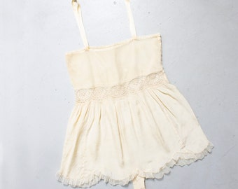 2e26adb5554 Vintage 1920s Teddy - Beige Silk Chemise Lace Step In Slip Lingerie 20s -  Extra Small XS