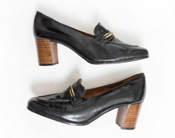daf28403901e1 Vintage 1970s Shoes - Black Leather Loafer Mod Chunky Heels Nordstrom Brass  Plum - Sz 9 1 2 N