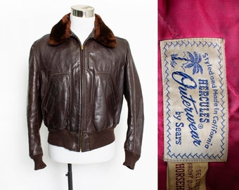918f0f6dfcb Vintage 1950s Motorcycle Jacket - Hercules Sears Brown Leather Fur Collar  Bomber 42