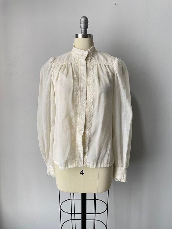 1970s Gunne Sax Blouse Cotton Lace Peasant Top S - image 1