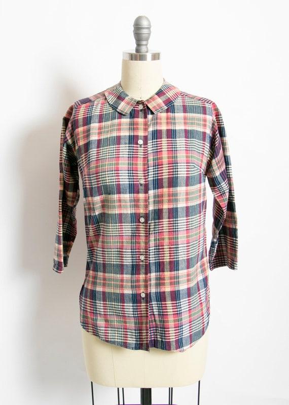 Vintage 1970s Blouse India Cotton Plaid Shirt Madr