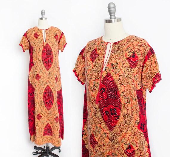 1970s Dress Ethnic Cotton Red Ethnic Boho S - image 1