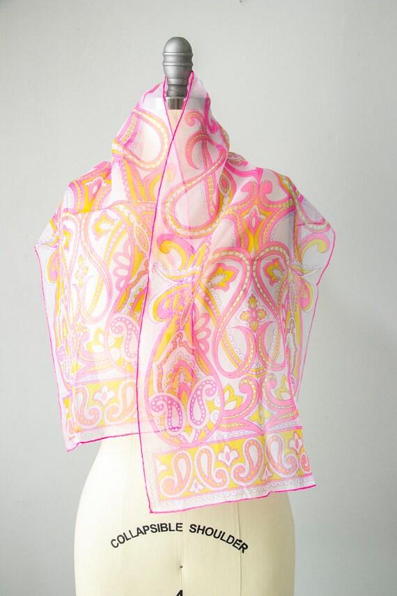 1970s Silk Chiffon Sheer Scarf Burmel Deadstock