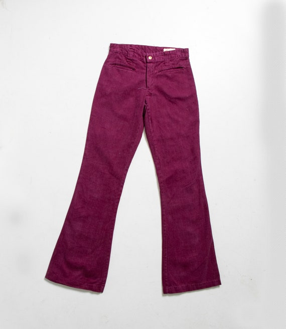 1970s Bell Bottoms Magenta Cotton Pants XS