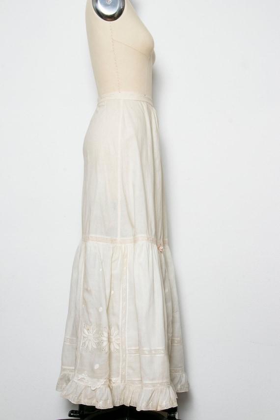 Victorian Antique Skirt Edwardian Cotton Embroide… - image 2