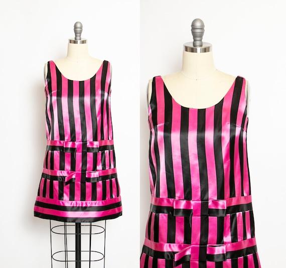 Vintage 1960s Dress Black Pink Striped Satin Mini