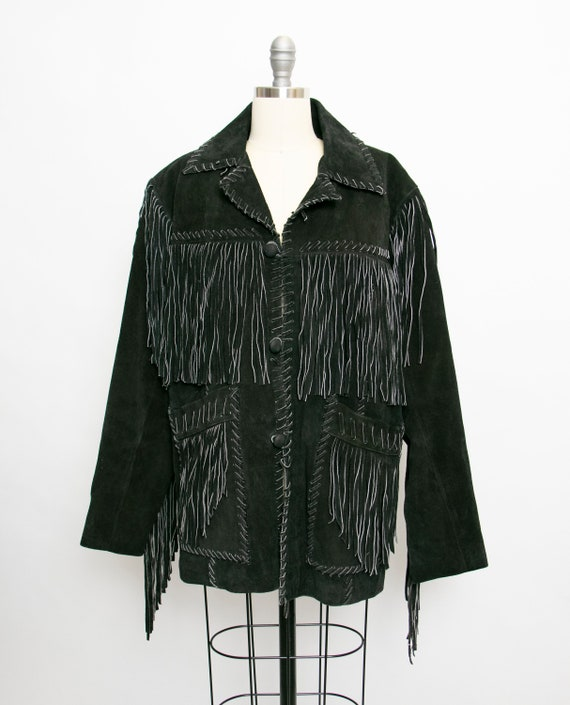1990s FRINGE Suede Jacket Western Leather Coat Bla