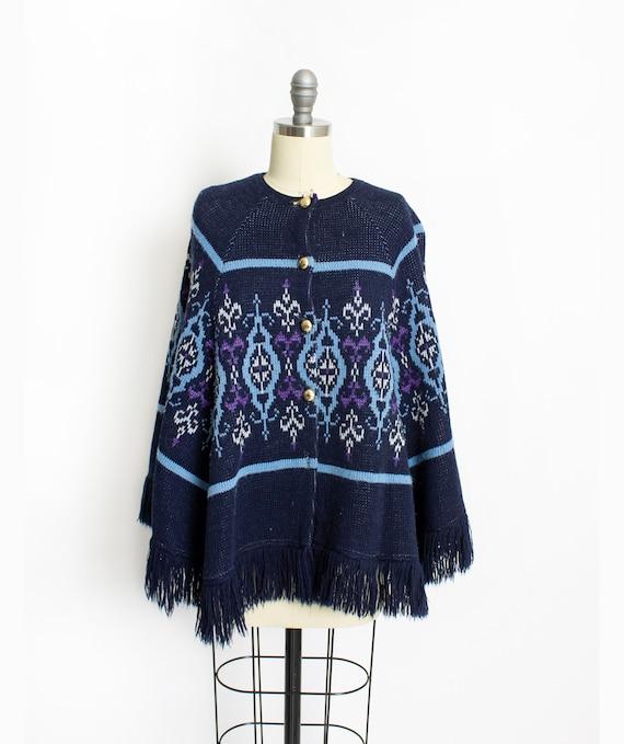 Vintage 1970s Cape Blue Fringe Acrylic Sweater Kni