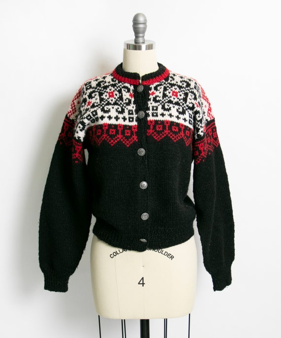 Vintage 1950s Sweater Cardigan Wool Hand Knit 50s