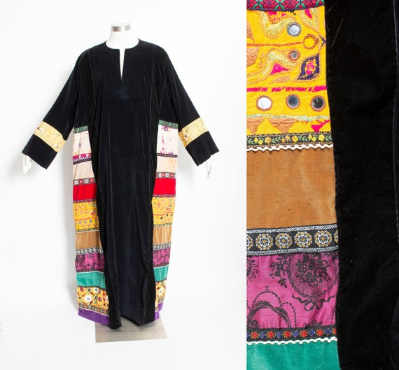 Vintage 1970s CAFTAN Maxi Dress Velvet Patchwork 7