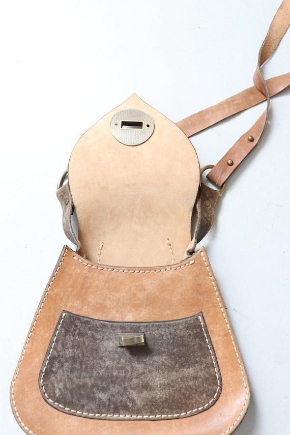 1970s Boho Purse Brown Leather Shoulder Bag - image 3
