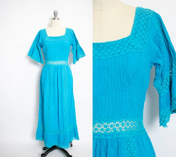 1960s Mexican Wedding Dress Blue Lace Maxi Boho Me