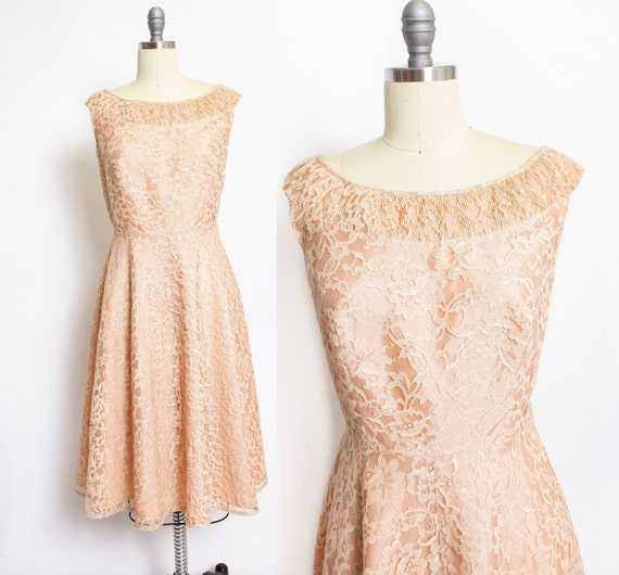 1950s Dress Beige Champagne Lace Cocktail Party La