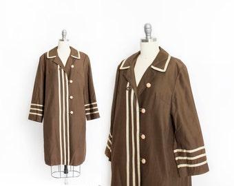 Vintage 1960s Coat - Brown Sailor Striped Mod Rain Jacket - Small / Medium
