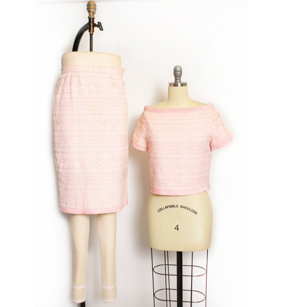 1980s VALENTINO Night Ensemble Pink Lace Skirt Set