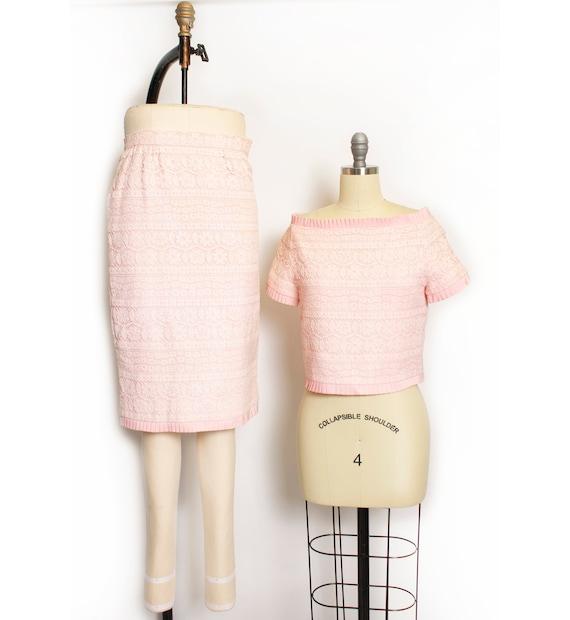 Vintage VALENTINO Night Ensemble Pink Lace Skirt S