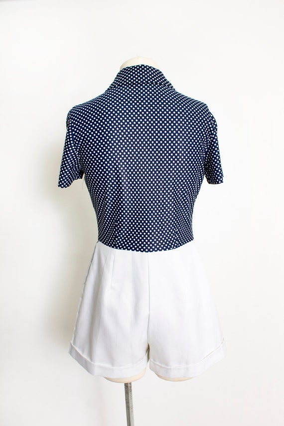 1970s ROMPER Polka Dot Shorts Jumpsuit Medium - image 4