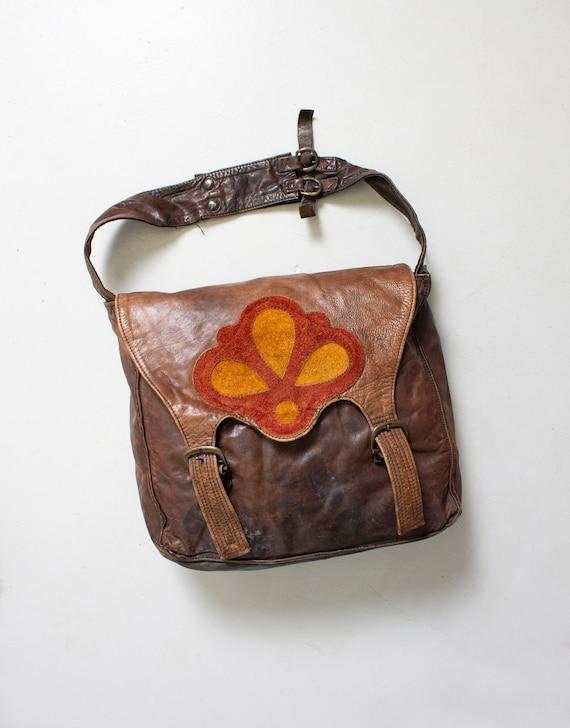 1970s Boho Bag Brown Patchwork Leather Artisan