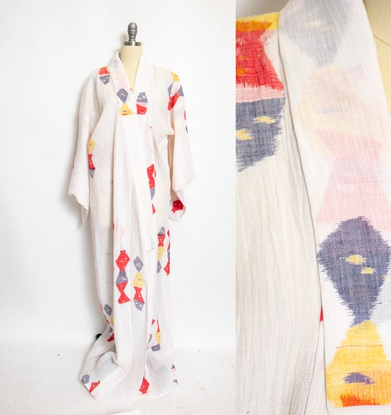 1970s Kimono Robe Cotton Lounge Robe Large
