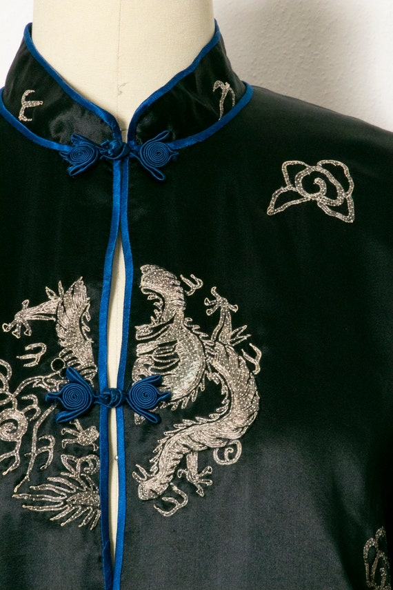 1950s Jacket Chinese Silk Embroidered Robe S - image 5
